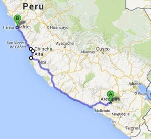 Over 1000km of Pacific coastline which I am planning to hitchhike to Peru's capital: Lima.