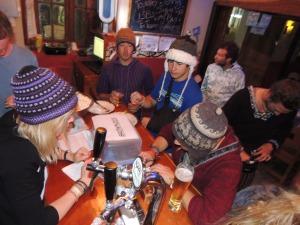 Working hard in the Underground Bar, Adventure Brew Hostel.