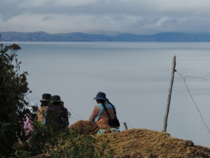 A woman overlooks Lake Titicaca from Bolivia's Isla del Sol.