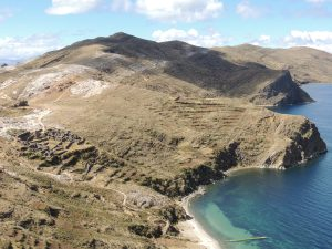 Looking down from the island's highest point over the Incan ruins on the Isla del Sol.