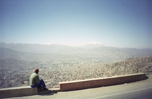 A man gazes out over the awesome spectacle that is La Paz.