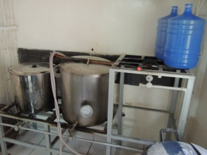 Brewing vats at the Stiers brewery.