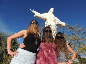 Having fun with Big Jesus in Cochabamba, Bolivia.