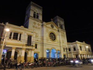 The beautiful church in Trinidad's main square, and a few motorbikes!