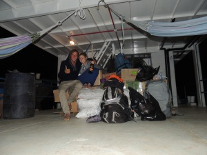 Our first night on board the cargo boat.