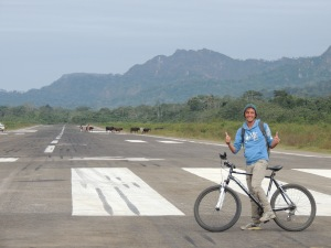 Riding along the runway at Rurrenabaque airport.