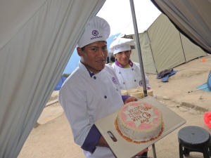 G Adventures certainly excelled in the kitchen on the Inca Trail... Baking cakes at 16,000ft!
